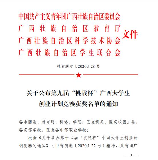 """喜讯:我校在第九届""""挑战杯""""广西大学生创业计划竞赛中喜创佳绩"""